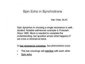 Spin Echo in Synchrotrons Alex Chao SLAC Spin
