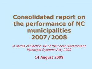 Consolidated report on the performance of NC municipalities