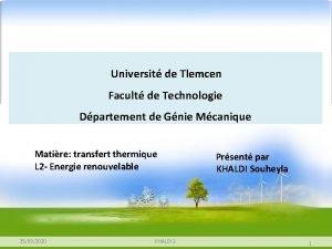 Universit de Tlemcen Facult de Technologie Dpartement de