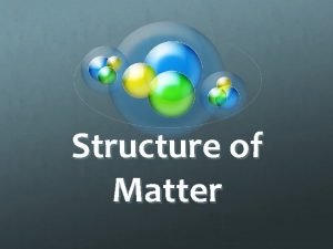 Structure of Matter Matter 3 states of Matter