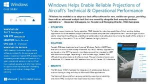 Windows Helps Enable Reliable Projections of Aircrafts Technical