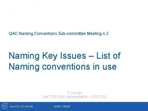 QAC Naming Conventions Subcommittee Meeting n 2 Naming
