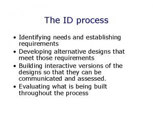 The ID process Identifying needs and establishing requirements