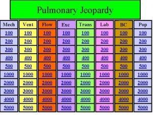 Pulmonary Jeopardy Mech Vent Flow Exc Trans Lab