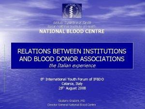 Istituto Superiore di Sanit Italian National Institute of
