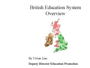 British Education System Overview By Vivian Liao Deputy
