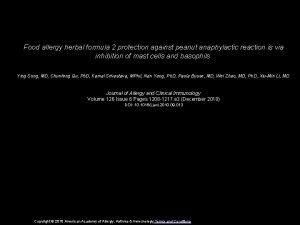 Food allergy herbal formula 2 protection against peanut