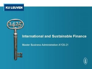 International and Sustainable Finance Master Business Administration AY