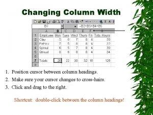 Changing Column Width 1 Position cursor between column