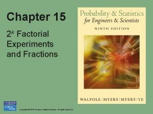 Chapter 15 2 k Factorial Experiments and Fractions