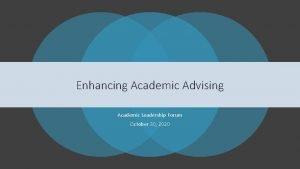 Enhancing Academic Advising Academic Leadership Forum October 30