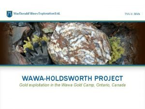 WAWAHOLDSWORTH PROJECT Gold exploitation in the Wawa Gold