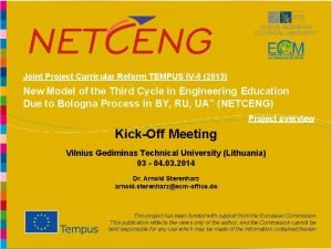 Joint Project Curricular Reform TEMPUS IV6 2013 New