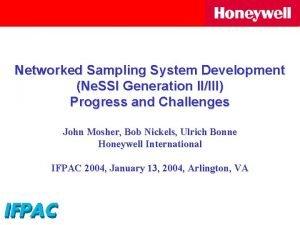 Networked Sampling System Development Ne SSI Generation IIIII