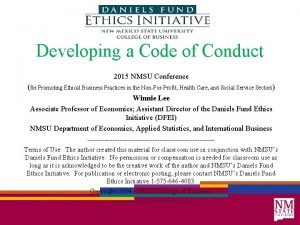 Developing a Code of Conduct 2015 NMSU Conference