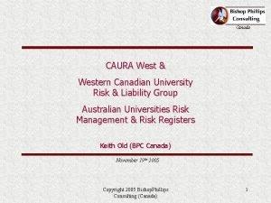 Canada CAURA West Western Canadian University Risk Liability