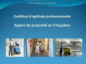 Filire hygine et environnement Certificat daptitude professionnelle Agent