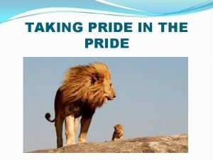 TAKING PRIDE IN THE PRIDE STRONGER DISTRICTS BY
