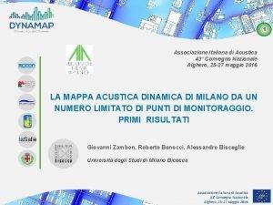 1 Associazione Italiana di Acustica 43 Convegno Nazionale