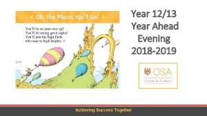Year 1213 Year Ahead Evening 2018 2019 Achieving