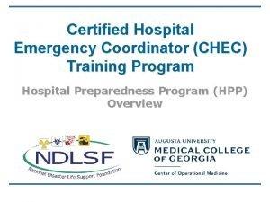 Certified Hospital Emergency Coordinator CHEC Training Program Hospital