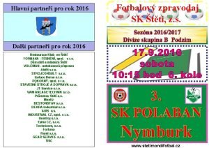 Hlavn partnei pro rok 2016 Dal partnei pro