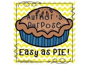 Authors Purpose Think about P I E Authors