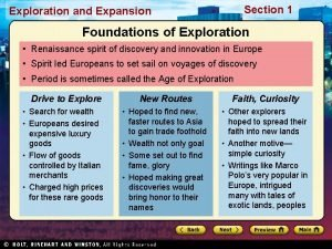 Section 1 Exploration and Expansion Foundations of Exploration