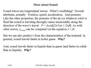 More about Sound waves are longitudinal waves Whats