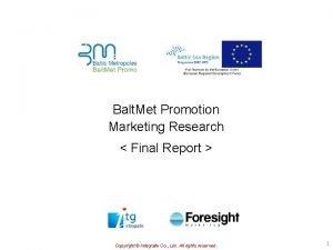 Balt Met Promotion Marketing Research Final Report Copyright