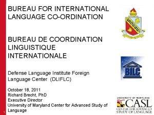 BUREAU FOR INTERNATIONAL LANGUAGE COORDINATION BUREAU DE COORDINATION
