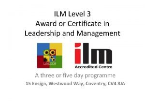 ILM Level 3 Award or Certificate in Leadership