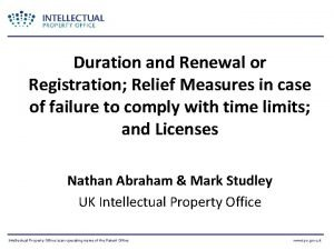 Duration and Renewal or Registration Relief Measures in