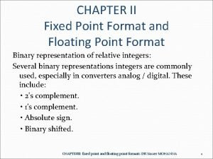 CHAPTER II Fixed Point Format and Floating Point