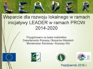 Wsparcie dla rozwoju lokalnego w ramach inicjatywy LEADER