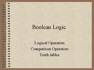 Boolean Logical Operators Comparison Operators Truth tables Boolean