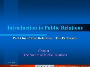 Introduction to Public Relations Part One Public RelationsThe