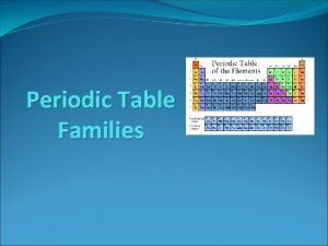 Periodic Table Families Families on the Periodic Table
