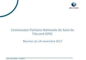Commission Paritaire Nationale de Suivi de lAccord GPEC