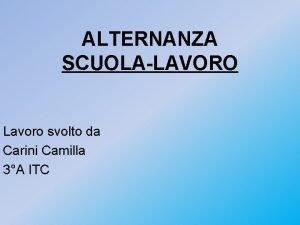ALTERNANZA SCUOLALAVORO Lavoro svolto da Carini Camilla 3A