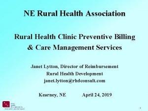 NE Rural Health Association Rural Health Clinic Preventive