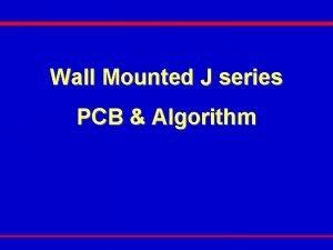 Wall Mounted J series PCB Algorithm WMJ PCB