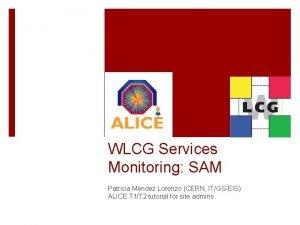 WLCG Services Monitoring SAM Patricia Mndez Lorenzo CERN