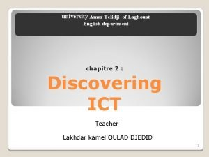 university Amar Telidji of Laghouat English department chapitre
