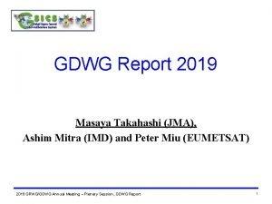 GDWG Report 2019 Masaya Takahashi JMA Ashim Mitra