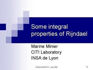 Some integral properties of Rijndael Marine Minier CITI