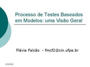 Processo de Testes Baseados em Modelos uma Viso
