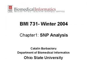 BMI 731 Winter 2004 Chapter 1 SNP Analysis