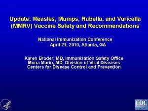 Update Measles Mumps Rubella and Varicella MMRV Vaccine