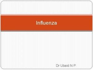 Influenza Dr Ubaid N P Acute respiratory tract